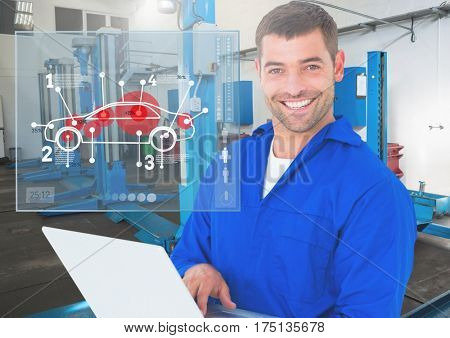 Digital composition of a happy automobile mechanic holding laptop and mechanic interface