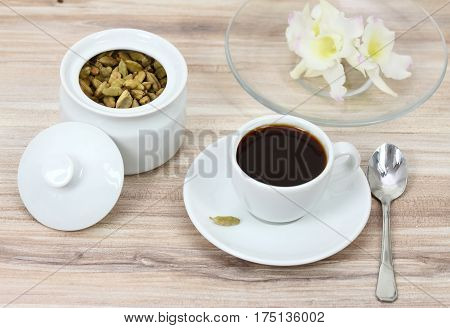 Black coffee and cardamom seeds used for unique taste of coffee in some Asia countries