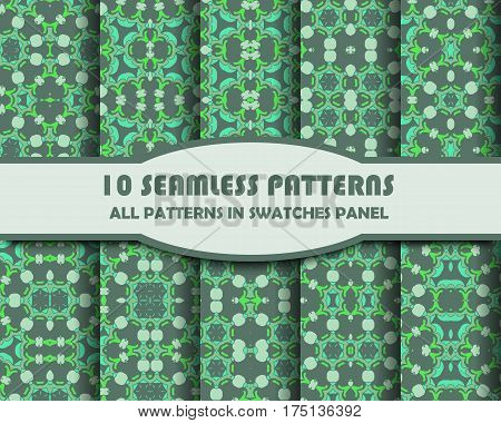 vector set of geometric seamless patterns for design. eps 10