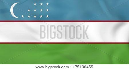 Uzbekistan Waving Uzbekistan Iraq National Flag Background Texture.