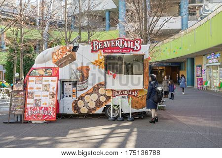 Tokyo, Japan - 17 February 2017: Food truck at Tokyo dome amusement park area in Tokyo, Japan.