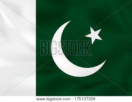 Pakistan Waving Flag. Pakistan National Flag Background Texture.