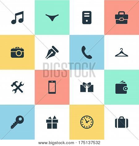 Vector Illustration Set Of Simple  Icons. Elements Hanger, Present, Call Button And Other Synonyms Case, Clock And Musical.