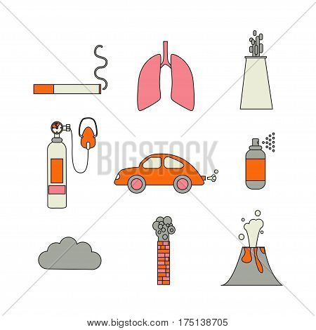 Air Pollution Icon Set