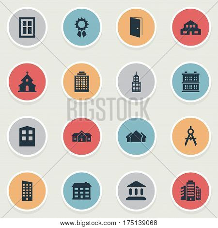 Vector Illustration Set Of Simple Structure Icons. Elements Construction, Floor, Structure And Other Synonyms Religious, Apartment And Edifice.