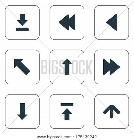 Vector Illustration Set Of Simple Indicator Icons. Elements Advanced, Transfer, Upward Direction And Other Synonyms Left, Upward And Advanced.