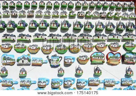 Alberobello Italy 21 June 2016: souvenir shop of Alberobello with trulli houses on Puglia southern Italy