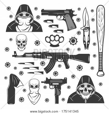 Gangster ammunition and different types of weapon in monochrome style isolated on white background. vector illustration