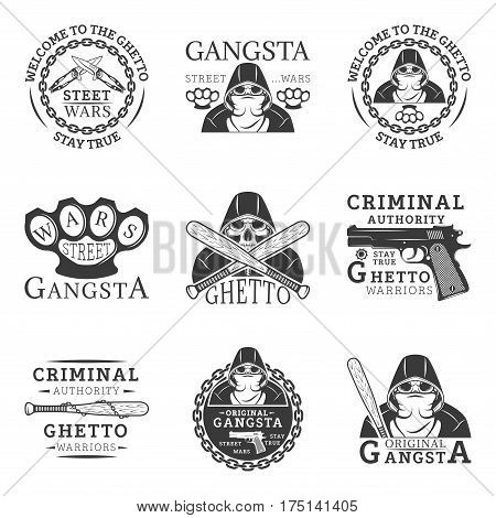 Gangster, ghetto, street wars emblems in monochrome style for your custom emblem, label, logo design isolated on white background