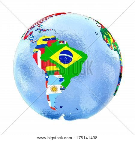 South America On Political Globe With Flags Isolated On White