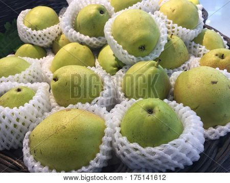 Chinese pear at the market,pear fruit,fresh Chinese pears