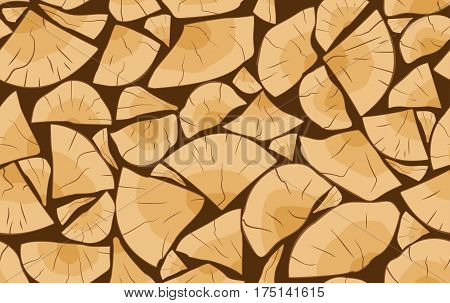 Pile of firewood logs seamless pattern background vector illustration