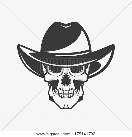 Human skull with hat in monochrome style isolated on white background vector illustration