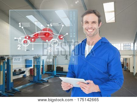 Digital composition of happy automobile mechanic holding digital tablet in workshop and mechanic interface