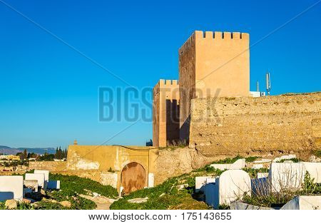 Bab Berdaine, a gate of Meknes seen from a cemetery - Morocco