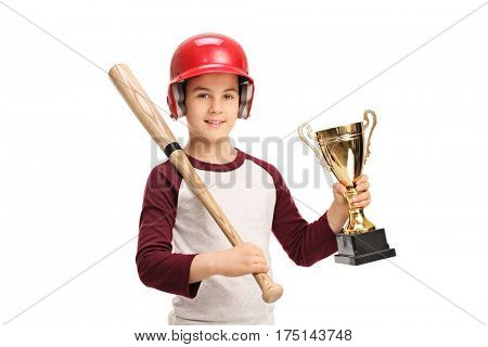 Little boy with a baseball bat and a golden trophy isolated on white background