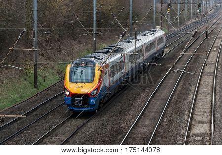 St Albans, UK - 6, 2017: British East Midlands train in motion