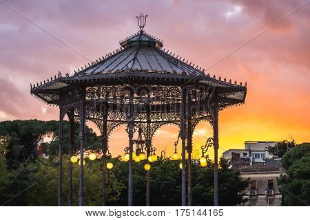 arbour in the centre of Vincenzo Bellini Park in Catania Sicily Italy