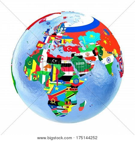 Emea Region On Political Globe With Flags Isolated On White
