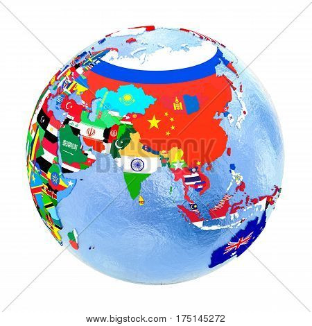 Asia On Political Globe With Flags Isolated On White