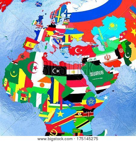 Emea Region On Political Globe With Flags