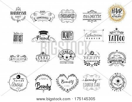 Beauty Salon professions in the beauty industry. A hand-made logo is a badge for your design