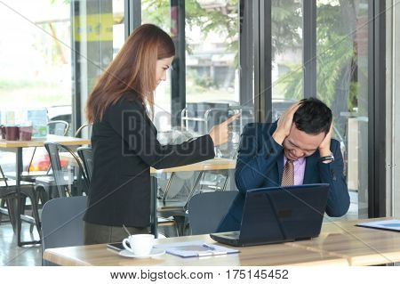 Angry Boss Woman Accusing Man To Making Business Failure In Firm Office