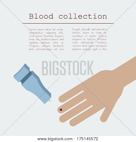 Capillary sampling. Finger prick blood collection. Vector illustration
