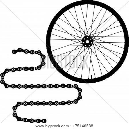 Bike wheel and bike chain vector icons