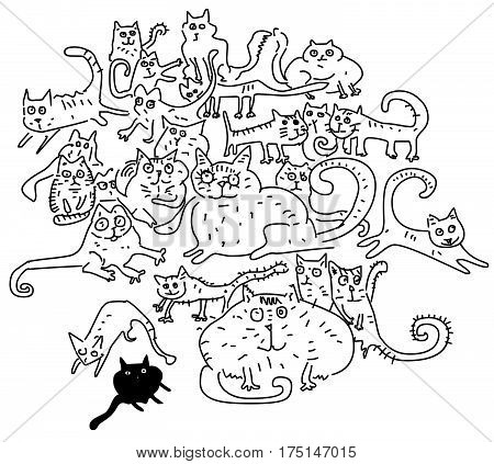 Funny cartoon cats , vector doodle illustration
