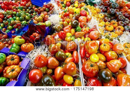 Tomatoes That Have Not Ripened Uniformly On Display At Borough Market