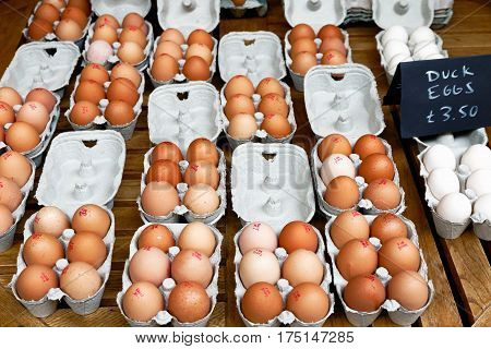 Fresh Chicken And Duck Eggs On Display