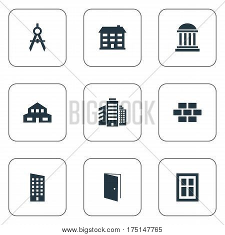 Vector Illustration Set Of Simple Architecture Icons. Elements Floor, Stone, Academy And Other Synonyms Building, Scale And Museum.