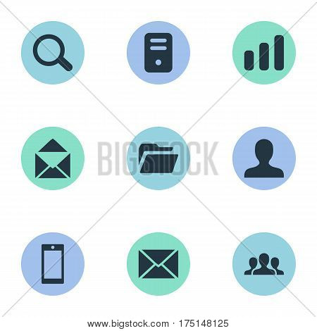 Vector Illustration Set Of Simple Practice Icons. Elements Dossier, Smartphone, Community And Other Synonyms Statistics, Computer And PC.