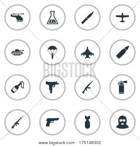 Vector Illustration Set Of Simple Terror Icons. Elements Paratrooper, Heavy Weapon, Cold Weapon And Other Synonyms Arm, Heavy And Laboratory.