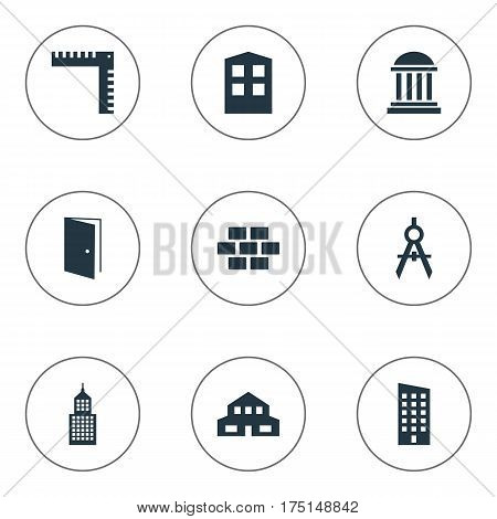 Vector Illustration Set Of Simple Structure Icons. Elements Stone, Length, Gate And Other Synonyms Premises, Downtown And Length.