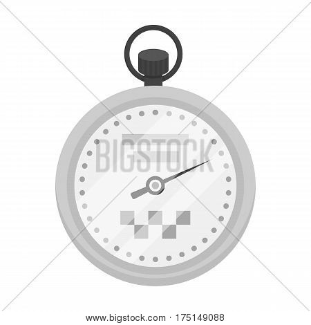 Yellow stopwatch with taxi emblem. Equipment measure the time of filing a taxi. Taxi station single icon in monochrome style vector symbol stock web illustration.