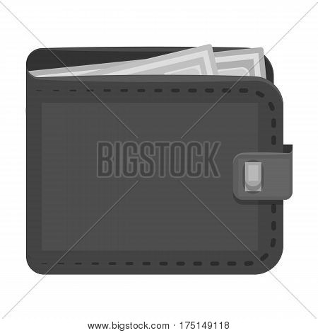 Black leather purse with money dollar. Taxi payment means. Taxi station single icon in monochrome style vector symbol stock web illustration.