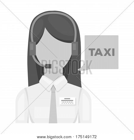 Girl in a white shirt with headphones.Call centre manager takes a taxi booking. Taxi station single icon in monochrome style vector symbol stock web illustration.