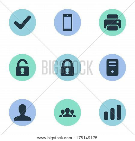 Vector Illustration Set Of Simple Practice Icons. Elements Lock, Printout, Computer Case And Other Synonyms Community, Processor And Profile.