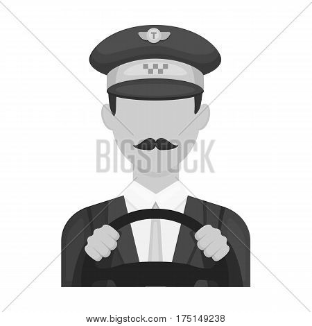 Taxi driver wearing a cap. Man is driving a taxi car. Taxi station single icon in monochrome style vector symbol stock web illustration.