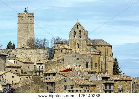 Sos del Rey Catolico church of San Esteban is located next to the castle Navarra Spain