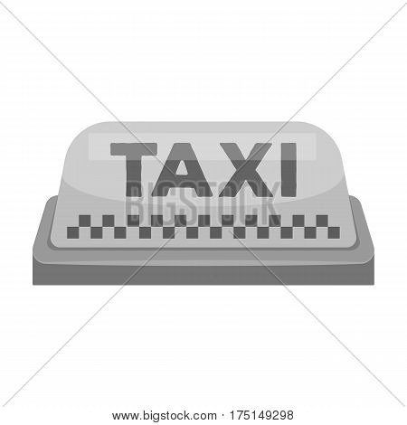 Yellow checker taxi with logo.Equipment taxi station for identification car. Taxi station single icon in monochrome style vector symbol stock web illustration.