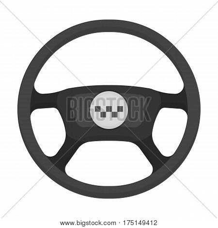 Black wheel with yellow emblem of taxi. The element to control the taxi car. Taxi station single icon in monochrome style vector symbol stock web illustration
