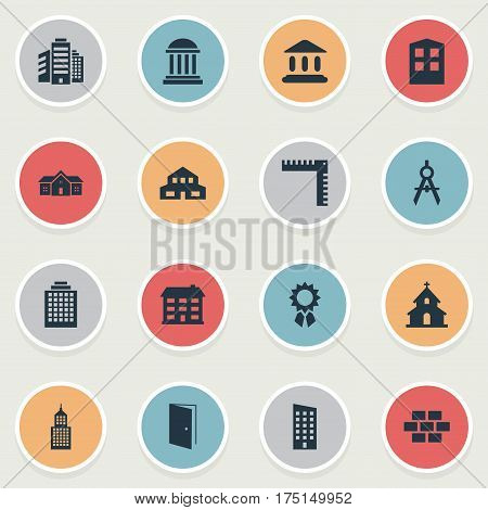 Vector Illustration Set Of Simple Construction Icons. Elements Reward, Residential, Residence And Other Synonyms Apartment, Residence And Residential.