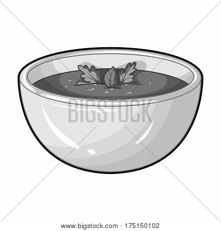 Porcelain tureen with the soup.Vegetarian soup-puree of pumpkin.Vegetarian Dishes single icon in monochrome style vector symbol stock web illustration.