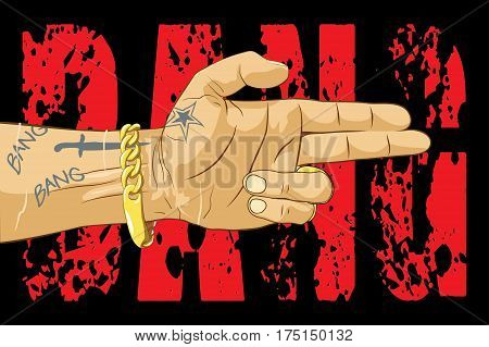 Bang bang - gangster threatens with a hand vector illustration