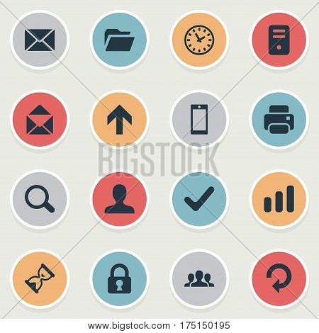 Vector Illustration Set Of Simple Application Icons. Elements Magnifier, Printout, User And Other Synonyms Open, Touchscreen And Hourglass.