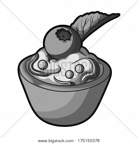 Vegetarian dessert. For vegetarians ice cream in a chocolate Cup and blueberry.Vegetarian Dishes single icon in monochrome style vector symbol stock web illustration.