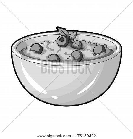 Delicious vegetarian porridge.Porridge for vegetarians blueberry.Vegetarian Dishes single icon in monochrome style vector symbol stock web illustration.